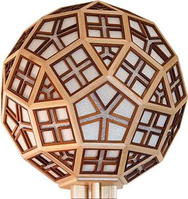 The Pentafleur lamp - a rhombicosidodecahedron